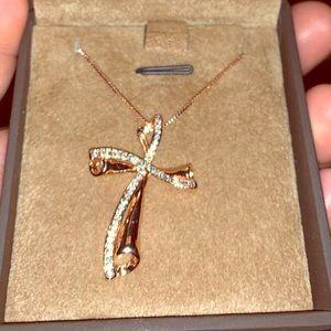 Jewelry - Swarovski Crystal & 14k GP Cross Necklace